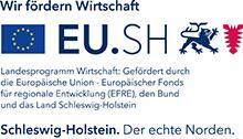 Logo EU.SH - Landesprogramm Wirtschaft: Gefördert durch die Europäische Union - Europäische Fonds für regionale Entwicklung (EFRE), den Bund und das Land Schleswig Holstein.
