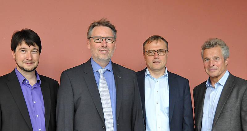 Das Team der FH Lübeck: v.l.: Die Professoren Jürgen Greifeneder, Martin Hahn, Horst Hellbrück und Uwe Koch. Foto: FH Lübeck