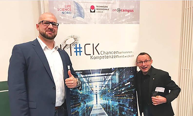 Sven Poka, oncampus GmbH, (Links) und Andreas Wittke, ILD TH Lübeck zur Präsentation auf der KI-Konferenz am 20.03.2019 an der CAU, Veranstalter: Staatskanzlei. Foto: ILD
